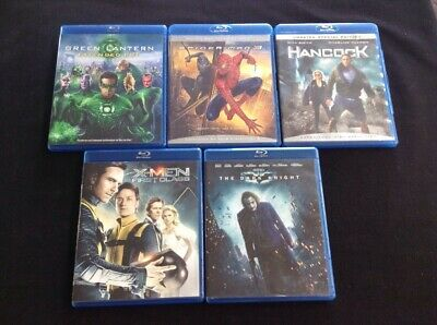 Superhero Blu Ray Lot of 5 Dark Knight Green Lantern Xmen First Class Hancock