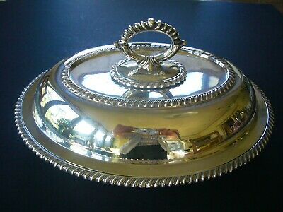 ANTIQUE SOLID STERLING SILVER TUREEN SERVING DISH & LID Hallmark JD&S Sheffield
