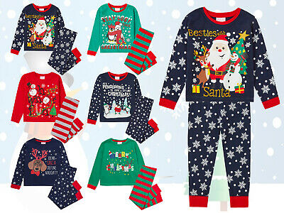 New Girls Boys Festive Christmas Pyjamas PJ Set Cute Novelty Nightwear Xmas Gift