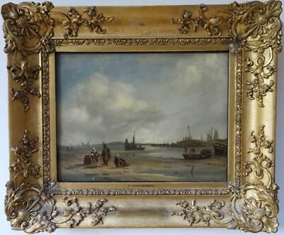 PIETER CORNELIS DOMMERSEN fine 19th Century Dutch ANTIQUE OIL PAINTING signed