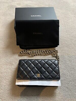 CHANEL Brand New Authentic  Black Gold Lambskin GHW Classic Wallet On Chain WOC