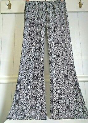 Boho Bellbottom Pants by Shinestar SIze Large Black and White Tapestry Print