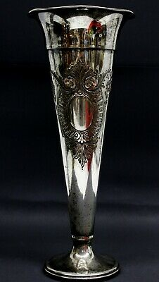 Antique Silver Plated Copper Trumpet Fluted Vase Etched Art Nouveau Hand Chased