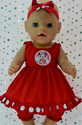"Play n Wear Dolls Clothes To Fit 17"" Baby Born  RED DRESS~BLOOMERS~HEADBAND"