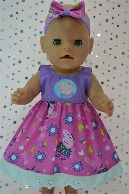 "Play n Wear Dolls Clothes To Fit 17"" Baby Born PLAIN/PATTERN DRESS~HEADBAND"