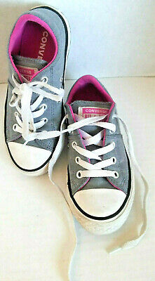 Converse All Star youth size 11 girls tennis shoes gray pink double tongue GUC
