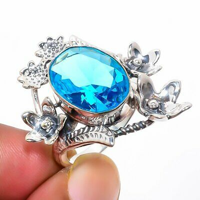 Blue Topaz Hand Crafted Floral Silver Ring 9 (36) AQ