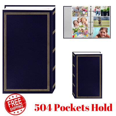"3-Ring Photo Albums 504 Pockets 4""x6"", Leatherette Cover Gold Stamping Navy Blue"