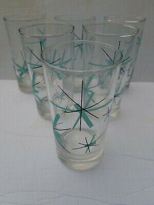 6 Mid Century Modern Salem North Star Tumblers Drinking Glasses Atomic MCM