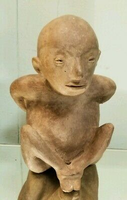 Pre-Columbian Clay Figure Carving Seated Hands Bound Possibly Nayarit