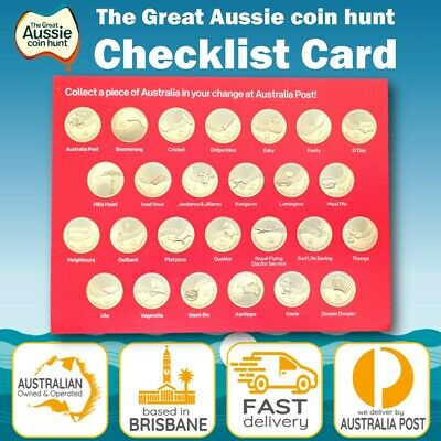 The Great Aussie Coin Hunt Checklist Card 2019 Australia Post UNC $1 Coin