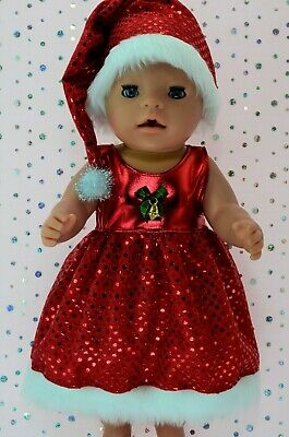 "Play n Wear Dolls Clothes To Fit 17"" Baby Born  CHRISTMAS SEQUIN DRESS~HAT"