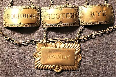 3 Vintage Sterling Silver Stieff Whiskey Liquor Bottle Decanter Tag Labels +++++