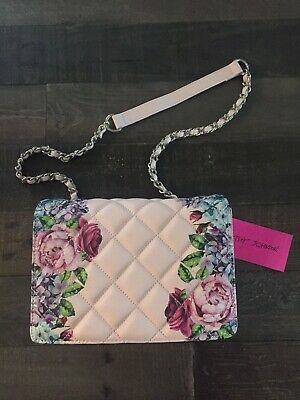 Betsey Johnson Floral Flower Rose Hydrangea Peony Light Pink Quilted Bag Purse