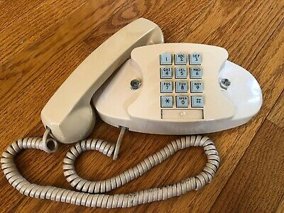 Vintage WESTERN ELECTRIC Bell System Beige Princess Push Button Desk Telephone!