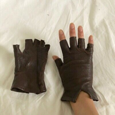 Vintage Gloves brown leather Fingerless