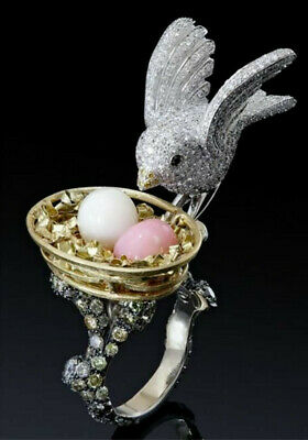Warm Love Peace Dove Bird Nest Vivid 18K Two Color mixed GF Finger Ring Size 9