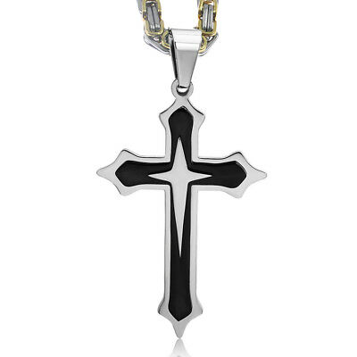 Stainless Steel Cross Pendant Gold Silver Black Necklace Byzantine Chain Jewelry