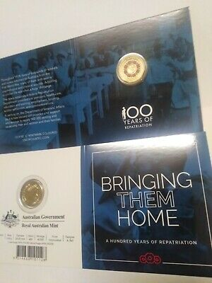 2019 $2 Australia war Repatriation C Mintmark colour UNC $2 coin in RAM card
