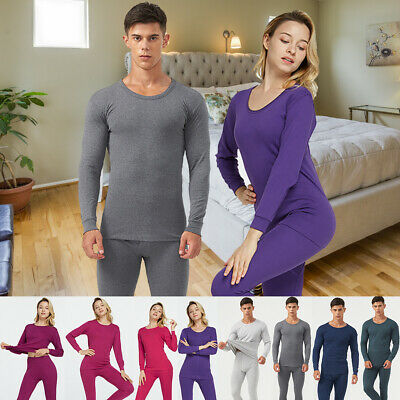 Men Women Cotton Thermal Underwear Set Keep Warm Winter Long Johns Top + Pant