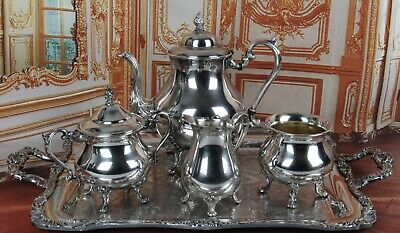 Gorgeous Antique Silverplate Tea Set Sheridan With Nouveau Ornate Tray 5 Pieces