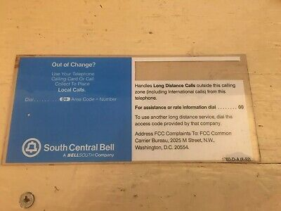 South Central Bell / Bellsouth Pay Phone Information Card