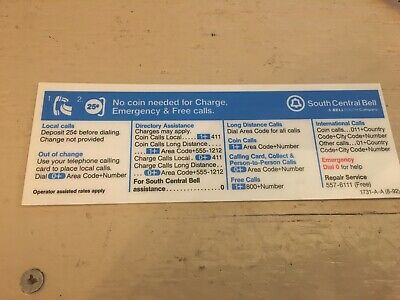 New Information Card For Payphone Display Pay Phone Info Bellsouth