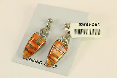 Santa Fe Style Red Spiny Oyster Shell Inlay Jewelry Earrings 925 Sterling Silver