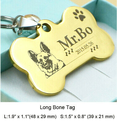 Stainless Steel Pet ID Tags Custom Double Side Engraved Dog Cat Name Gold Tag