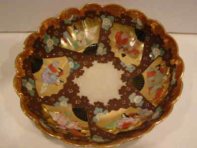 Japanese Satsuma Porcelain Fluted Bowl Hand Painted Antique