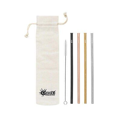 Cheeki Reusable S/S Straws Straight (Silver,Gold,Rose Gold,Black,Brush & Clot...
