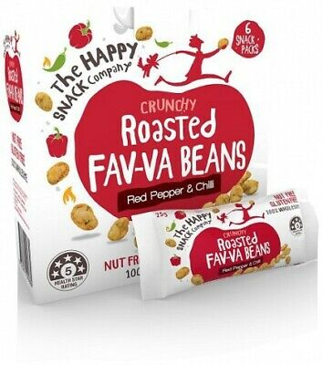 The Happy Snack Company Roasted Fav-va Beans Red Pepper & Chilli Box (6x25g)