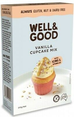 Well & Good Vanilla Cup Cake Mix   Frosting & Colour Sprinkles (510g)