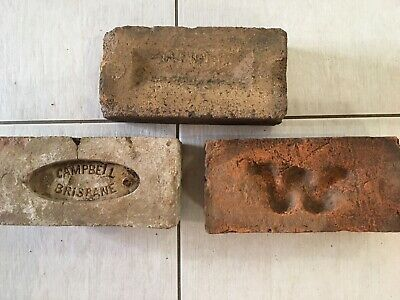 ~ 3 x Old Sandstock Bricks - Campbell Brisbane - W - Convict/Early Era ~