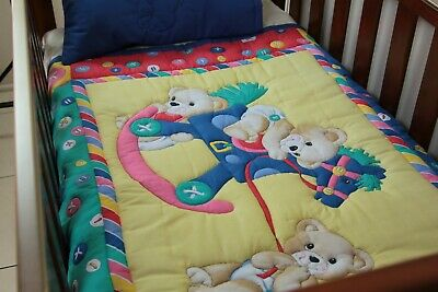 Rocking Teddy Cot Quilt with pillow case