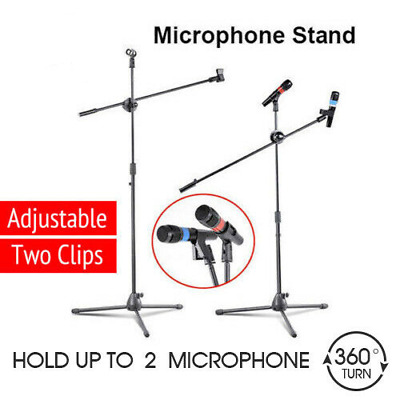 2x Pro Telescopic Boom Arm Microphone Stand Adjustable with 2 Mic Holder Tripod