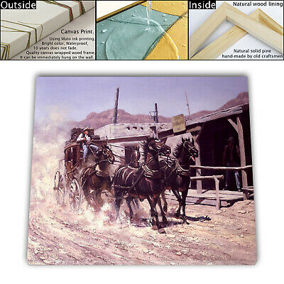 "16""x22"" Western stagecoach Painting HD Canvas print Framed Home Decor Wall photo"