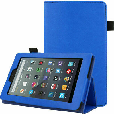 """For Amazon Fire 7"""" 2019 9th Generation Leather Case Flip Smart Cover Stand Blue"""