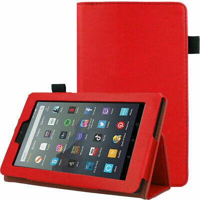 """For Amazon Fire 7"""" 2019 9th Generation Leather Case Flip Smart Stand Cover Red"""