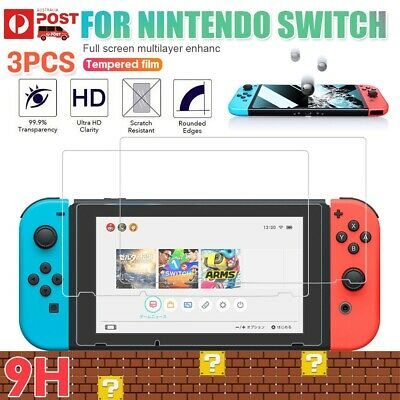 3 Packs 9H Tempered Glass Screen Protector Guard Cover Film For Nintendo Switch