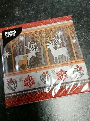 20x Christmas Paper Table Napkins 3ply 33cm Reindeers
