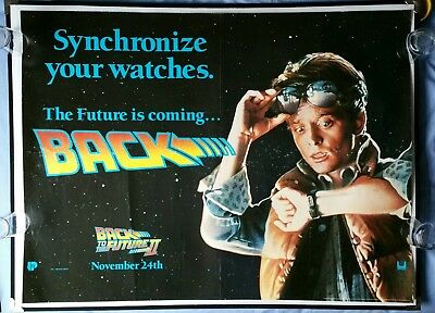 BACK TO THE FUTURE 2 (1989) original UK teaser quad poster - check watch style