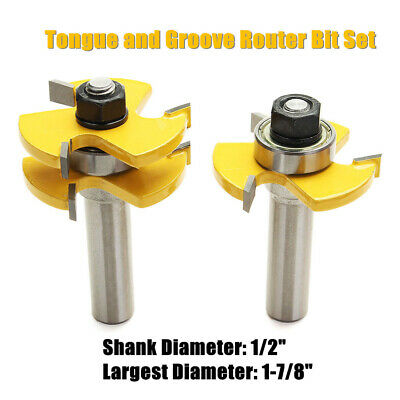 """Tongue and Groove Router Bit Set - 1/2"""" Shank 2X Tongue Mortise Knife 2 Bits Hot"""
