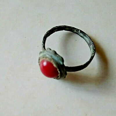 Ancient Early Middle Ages Bronze Ring w/Red Stone