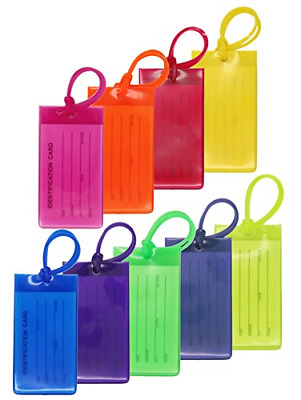9 Packs Colorful Flexible Travel Luggage Tags for Baggage Bags/Suitcases - Name