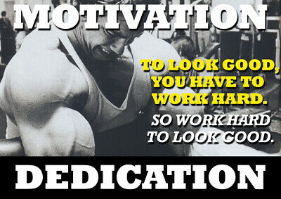 Arnold Schwarzenegger Motivational Poster - Body Builder quotes #45 - A3