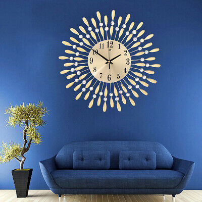 Battery Powered Wall Clock Sunburst Metal Crystal 3D Number Art Clock with Hook