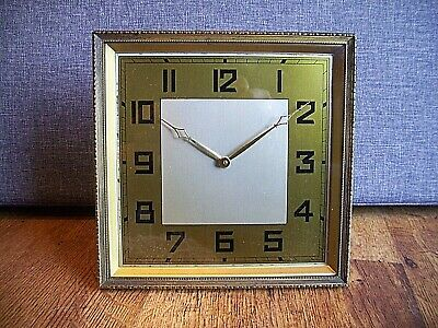 Antique Art Deco Brass and Gilt Square Faced Mantel Clock (Winding Mechanism)