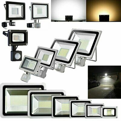 LED Floodlight PIR Sensor Motion 10/20/30/50/100W Security Flood Light Warm Cool