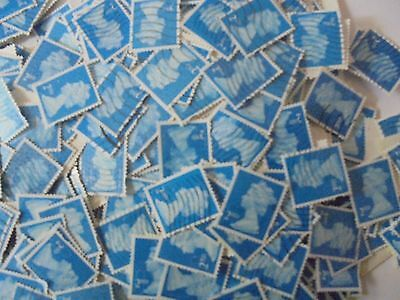 100  x 2nd Class Blue Security Stamps - Used - Franked - Off Paper